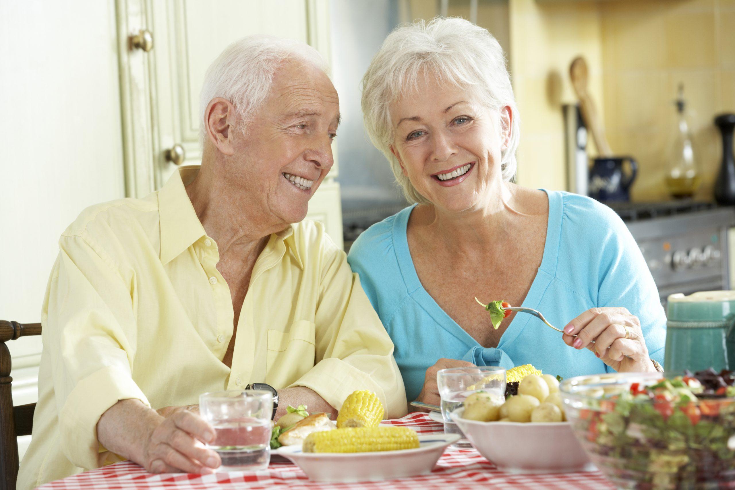 senior couple enjoys lunch