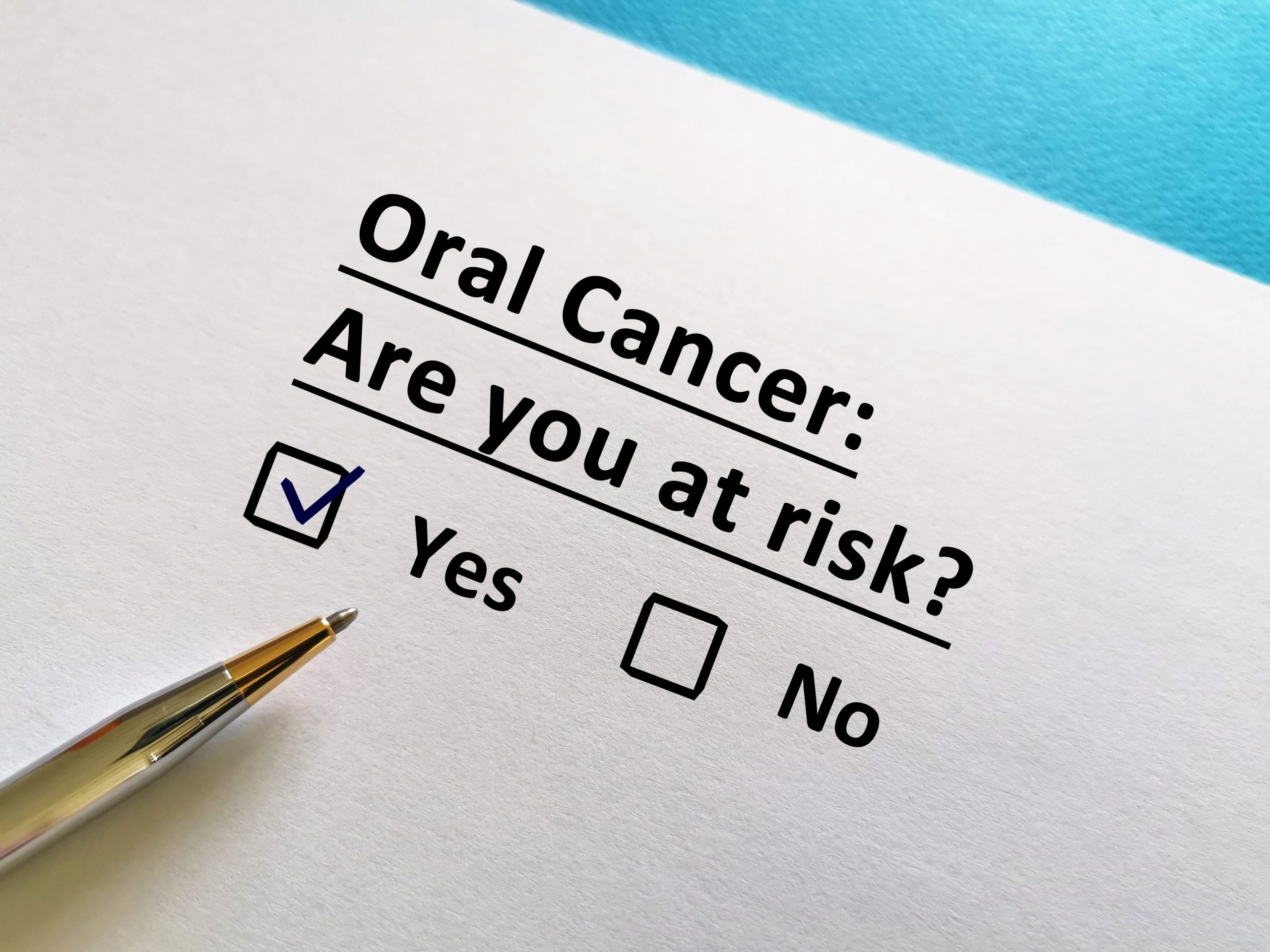 One person is answering question. He is at risk for oral cancer.