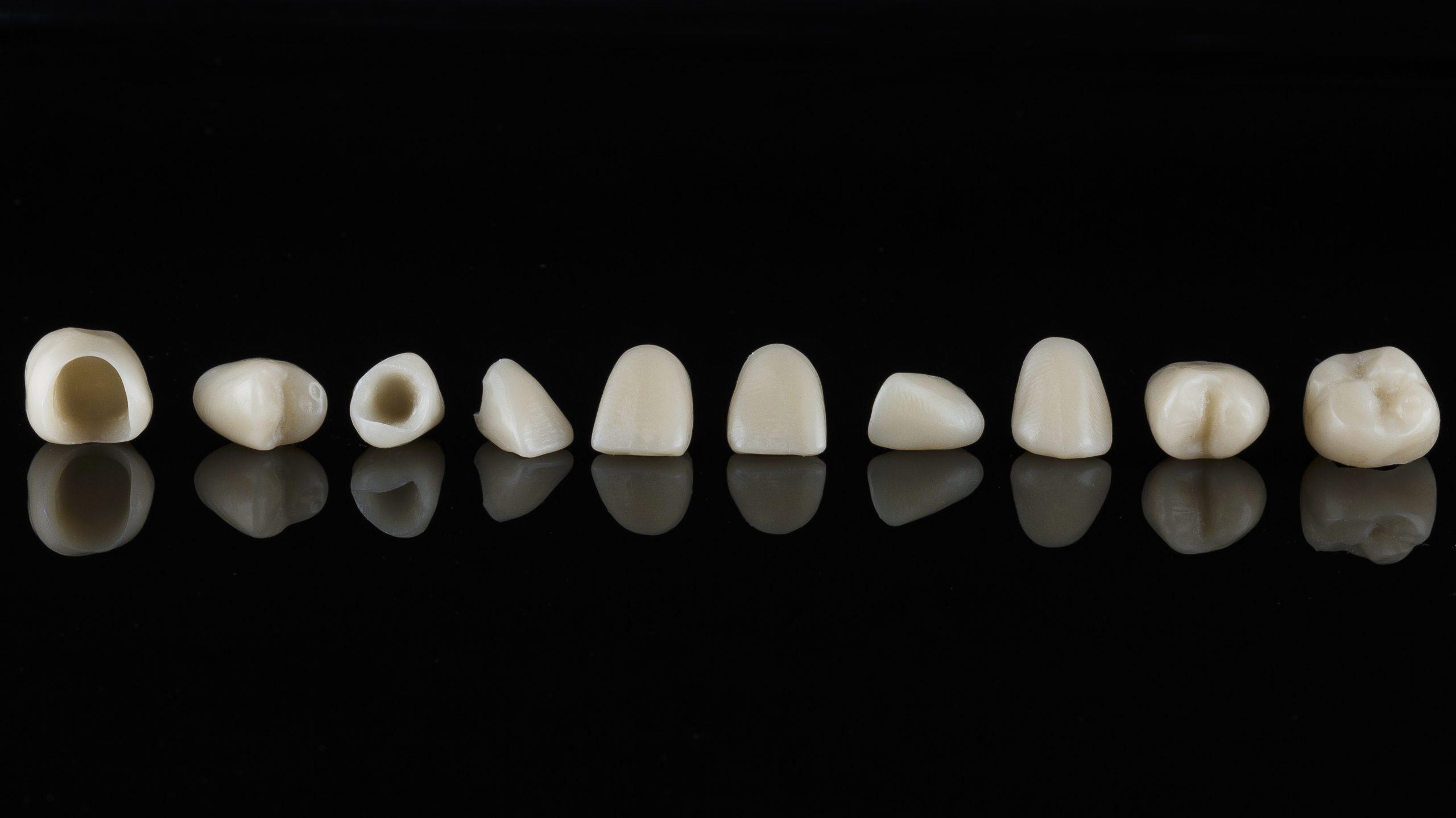 Dental crown of graphene, shot on a black background